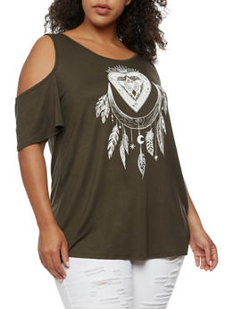 Plus Size Feather Graphic Cold Shoulder Top - OLIVE WHT - 3924061359645