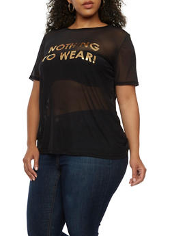 Plus Size Nothing to Wear Graphic T Shirt - 3924061359730