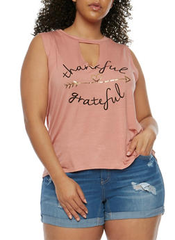 Plus Size Thankful Grateful Graphic Tank Top - 3924061359877