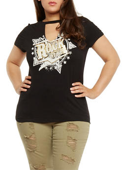 Plus Size Rock Graphic Top with Keyhole Cutout - 3924061359893