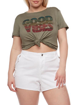 Plus Size Good Vibes Graphic T Shirt - DUSTY OLIVE - 3924061359999