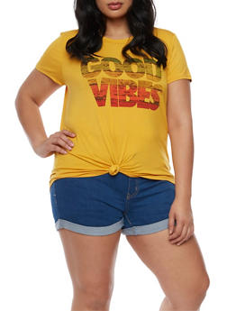 Plus Size Good Vibes Graphic T Shirt - 3924061359999