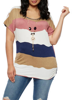 Plus Size Wavy Stripe Top with Detachable Necklace - 3924062706421