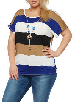 Plus Size Wavy Stripe Top with Detachable Necklace - 3924062706421