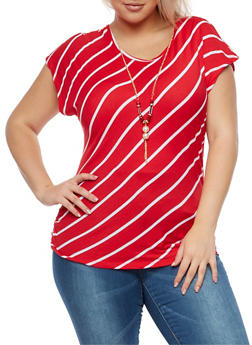 Plus Size Striped Top with Necklace - 3924062706422