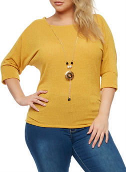 Plus Size Knit Top with Detachable Necklace - 3924062706505