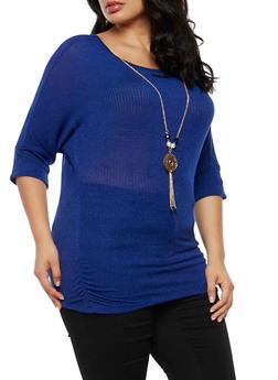 Plus Size Knit Top with Detachable Necklace - 3924062706505