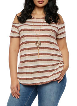 Plus Size Striped Ribbed Knit Cold Shoulder Top - 3924062706525