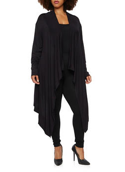 Plus Size Cardigan with Draped Paneling - 3924062706778