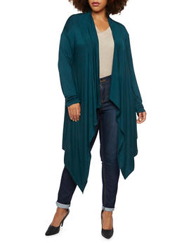 Plus Size Cardigan with Draped Paneling - 3924062706778