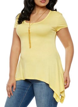 Plus Size Asymmetrical Top with Necklace - 3924062707459