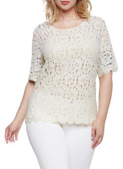 Plus Size Zip Back Lace Top - NATURAL - 3924064461909