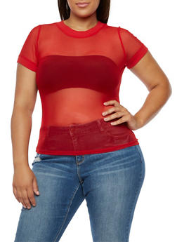 Plus Size Mesh Short Sleeve Top - RED - 3924066493053