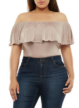 Plus Size Off the Shoulder Bodysuit - 3924069395119
