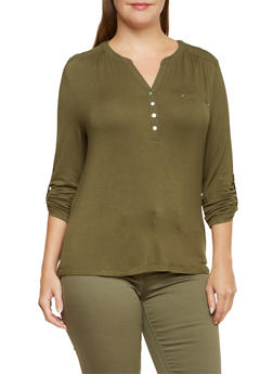 Plus Size Knit Henley with Shirred Detail - 3924069397524