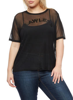 Plus Size Flawless Graphic Mesh T Shirt - 3924069398664