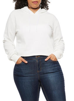 Plus Size Solid Hoodie - OFF WHITE - 3924072290070