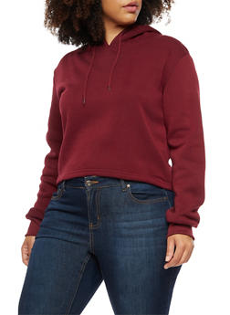 Plus Size Solid Hoodie - 3924072290070