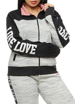 Plus Size Love Graphic Marled Track Jacket - 3924072291871