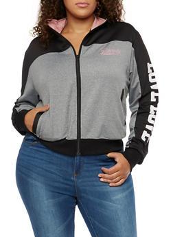 Plus Size Love Zip Up Track Jacket - 3924072291921