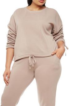 Plus Size Long Sleeve Sweatshirt with Drawstring Waist - 3924072299658