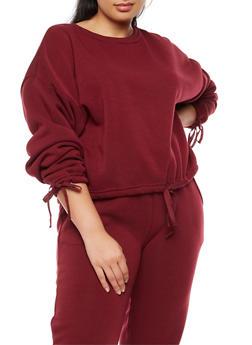 Plus Size Long Sleeve Sweatshirt with Drawstring Waist - BURGUNDY - 3924072299658