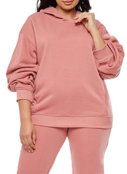 Plus Size Pleated Sleeve Sweatshirt - 3924072299660