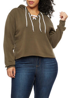 Plus Size Lace Up Fleece Hoodie - 3924072299663