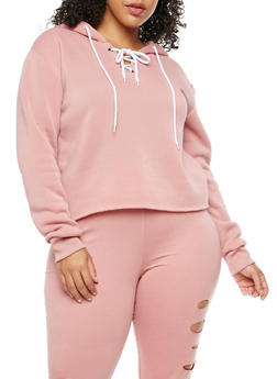 Plus Size Lace Up Fleece Hoodie - 3924072299663
