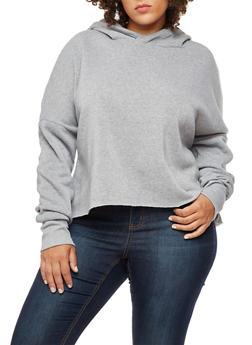Plus Size Long Sleeve Hooded Sweatshirt - 3924072299665