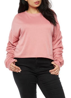 Plus Size Ruched Long Sleeve Sweatshirt - 3924072299966