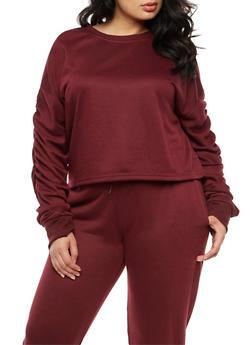 Plus Size Ruched Long Sleeve Sweatshirt - 3924072299966