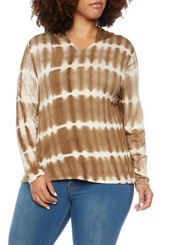 Plus Size Hoodie with Tie Dye Stripes - 3924073136133