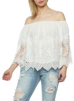 Plus Size Off the Shoulder Crochet Top - 3925035042240
