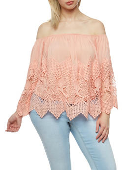 Plus Size Off the Shoulder Crochet Top - 3925035042240