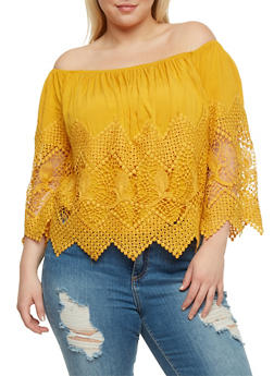 Plus Size Off the Shoulder Crochet Top - MUSTARD - 3925035042240
