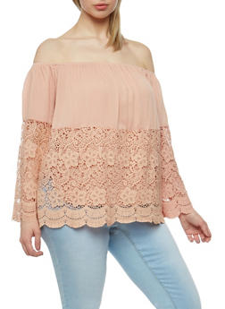 Plus Size Off the Shoulder Half Crochet Peasant Top - 3925035042301