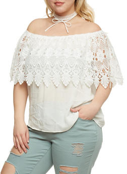 Plus Size Off the Shoulder Top with Crochet Overlay - WHITE - 3925035042305