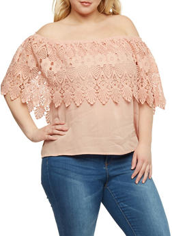 Plus Size Off the Shoulder Top with Crochet Overlay - 3925035042305