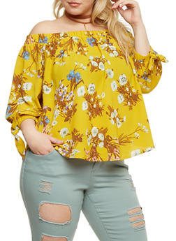 Plus Size Off the Shoulder Floral Top - 3925035043268