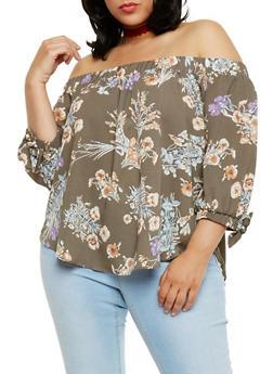 Plus Size Off the Shoulder Floral Top - 3925035043268