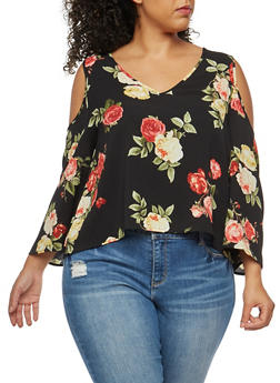 Plus Size Crepe Knit Floral Cold Shoulder Tie Back Top - 3925054212108