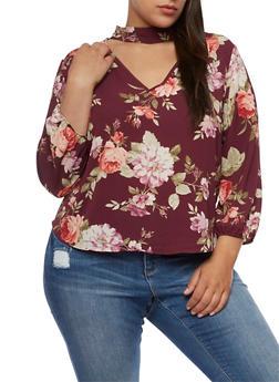 Plus Size Floral Choker Keyhole Top - 3925054213187