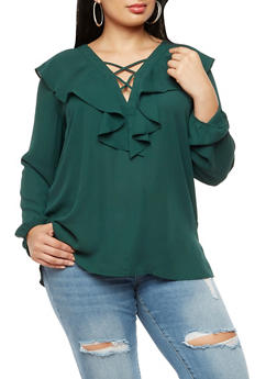 Plus Size Long Sleeve Ruffled Top - 3925054213908