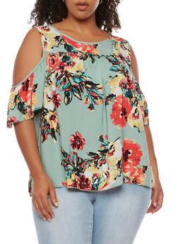 Plus Size Floral Cold Shoulder Top - 3925054263497