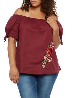 Plus Size Floral Applique Off the Shoulder Top - 3925054263508