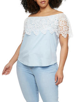 Plus Size Off the Shoulder Top with Crochet Overlay - 3925058601542