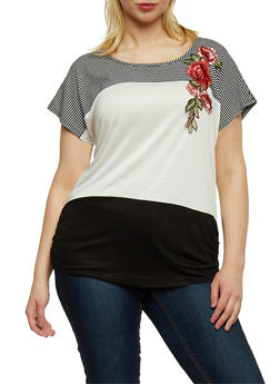 Plus Size Striped Color Block Top with Flower Patch - 3925058602228