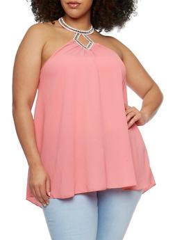 Plus Size Sleeveless Jewel Neck Halter Top - 3925058605971