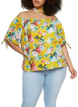 Plus Size Floral Off the Shoulder Choker Top - 3925058606021